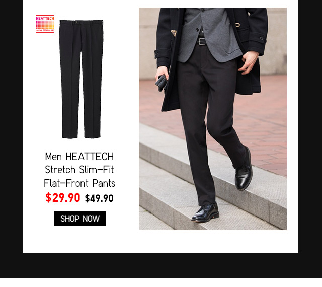 Men HEATTECH Stretch Slim-Fit Flat-Front Pants $19.90 - Shop Now