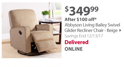 Abbyson Living Bailey Swivel Glider Recliner Chair