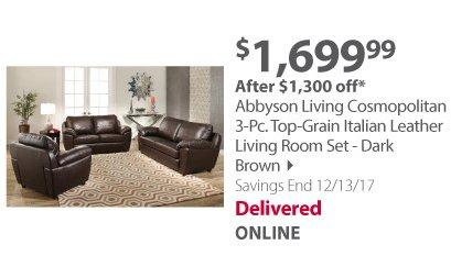 Abbyson Living Cosmopolitan 3-Pc. Top-Grain Italian Leather Living Room Set - Dark Brown