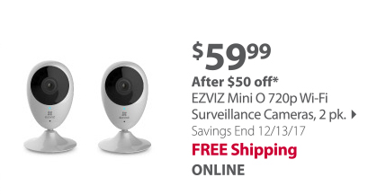 EZVIZ Mini O 720p Wi-Fi Surveillance Camera, 2 pk.