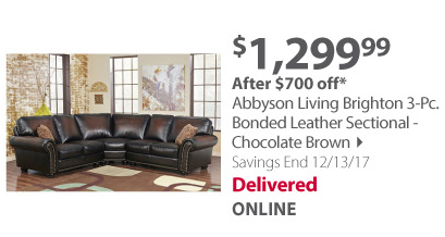 Abbyson living 3-pc leather sectional