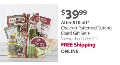 Chevron-Patterned Cutting Board Gift Set