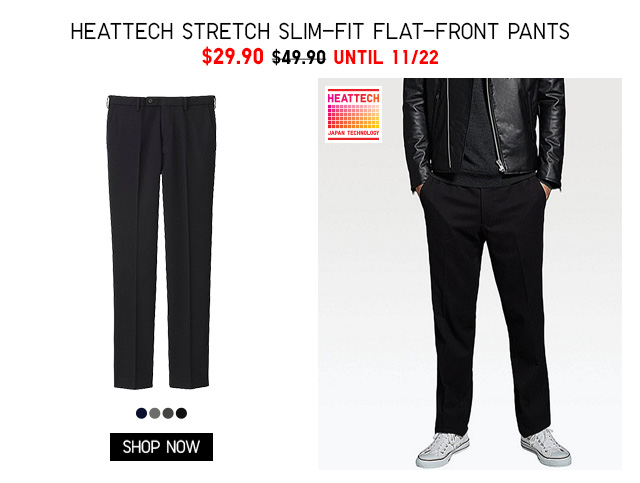 Men HEATTECH Stretch Slim-Fit Flat-Front Pants $29.90 - Shop Now