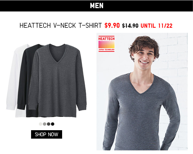 Men HEATTECH V-Neck T-Shirt $9.90 - Shop Now