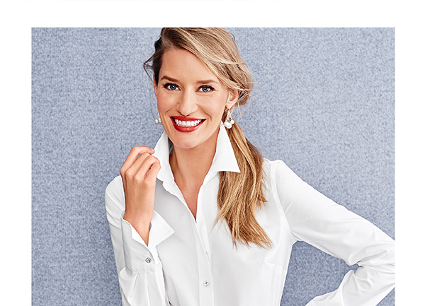 Our classic white popover...it's the go-with-everything top that looks good on everyone. 25% Off Tops