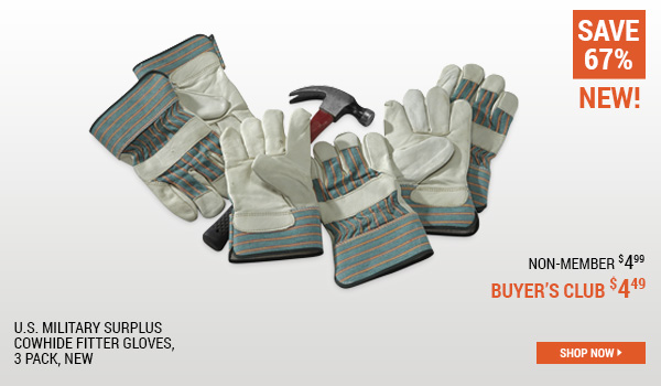 U.S. Military Surplus Chowhide Fitter Gloves, 3 Pack, New