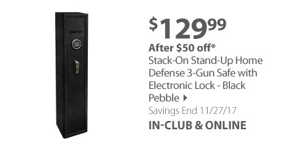 Stack-On Stand-Up Home Defense 3-Gun Safe with Electronic Lock - Black Pebble