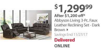 Abbyson Living 3-Pc. Faux Leather Reclining Set - Dark Brown