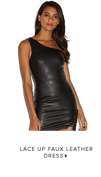 LACE UP FAUX LEATHER DRESS