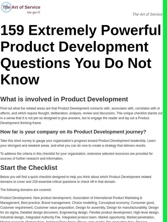 The Art Of Service 159 Extremely Powerful Product Development Questions You Do Not Know Milled