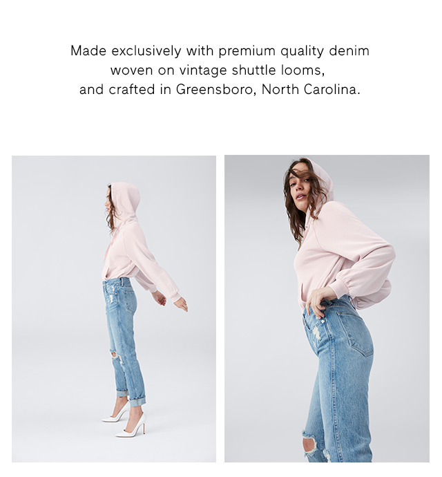 Made exclusively with premium quality denim woven on vintage shuttle looms, and crafted in Greensboro, North Carolina.