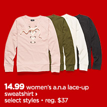 womens a.n.a lace up sweatshirt
