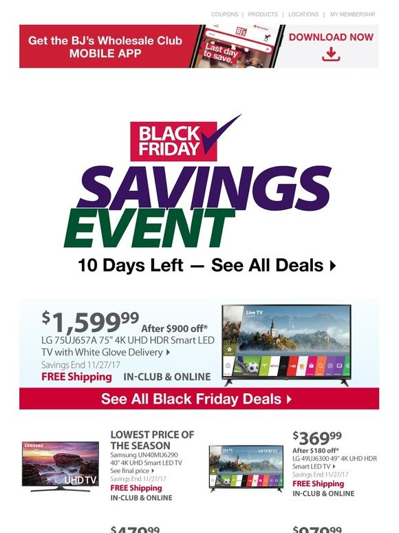 Bjs Wholesale Club 10 Days Left Shop Our Black Friday Deals Today Milled
