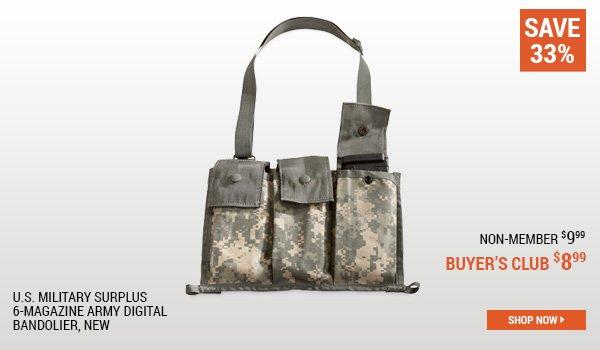 U.S. Military Surplus 6-Magazine Army Digital Bandolier, New
