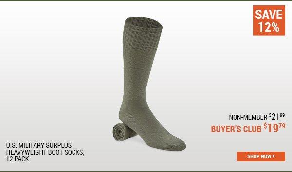 U.S. Military Surplus Heavyweight Boot Socks, 12 Pack