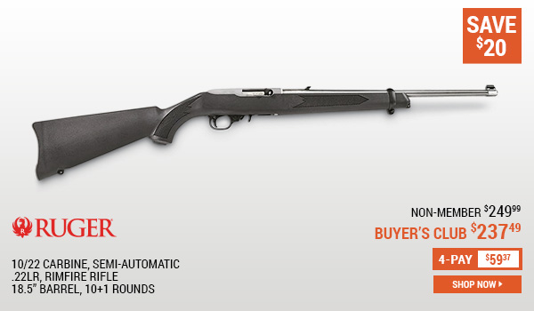 Ruger 10/22 Carbine, Semi-Automatic, .22LR, Rimfire Rifle, 18.5 Inch Barrel, 10+1 Rounds, 10+1