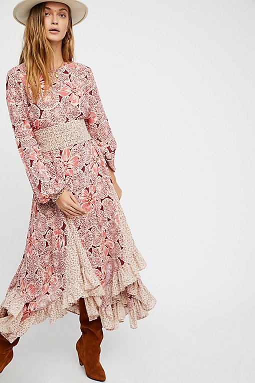 Bohemian Mixed Print Midi Dress