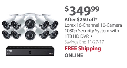 Lorex 16-Channel 10-Camera 1080p Security System