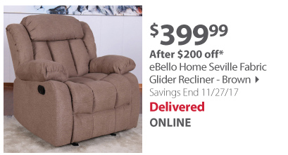 eBello Home Seville Fabric Glider Recliner - Brown