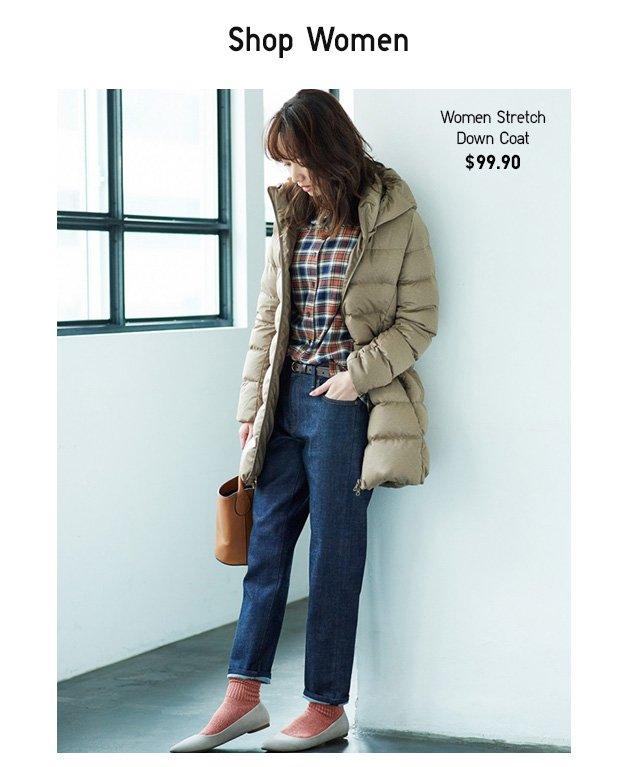 SHOP WOMEN - Women Stretch Down Coat $99.90