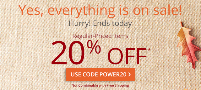 20% off* regular-price itsms. Use code POWER20