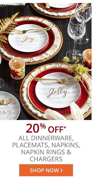 20% off* all dinnerware, placemats, napkins, napkin rings & chargers.
