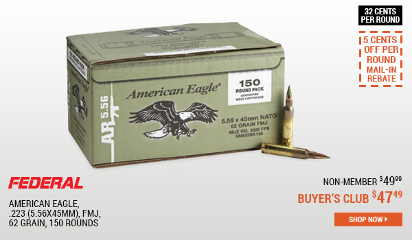 Federal American Eagle, .223 (5.56x45mm), FMJ, 62 Grain, 150 Rounds