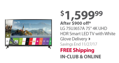 """""""LG 75UJ657A 75"""""""" 4K UHD HDR Smart LED TV with White Glove Delivery"""""""