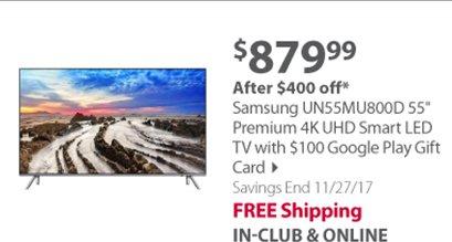 """Samsung UN55MU800D 55"""" Premium 4K UHD Smart LED TV with $100 Google Play Gift Card"""