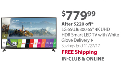 """""""LG 65UJ6300 65"""""""" 4K UHD HDR Smart LED TV with White Glove Delivery"""""""