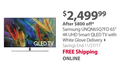 """""""Samsung QN65Q7FD 65"""""""" 4K UHD Smart QLED TV with White Glove Delivery"""""""