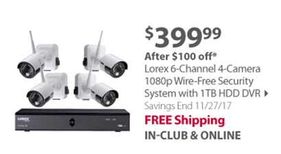 """""""Lorex 6-Channel 4-Camera 1080p Wire-Free Security System with 1TB HDD DVR"""""""