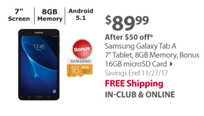 "Samsung Galaxy Tab A 7"" Tablet, 8GB Memory, Bonus 16GB microSD Card"