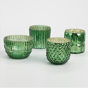 Dark Green Mercury Glass Votives