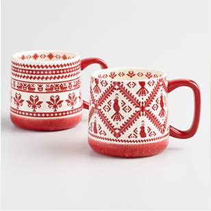 Red Legendary Cross Stitch Mugs