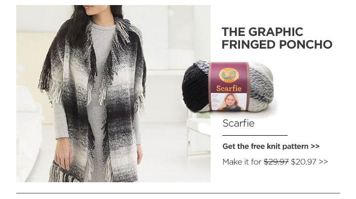 Graphic Fringed Poncho. FREE KNIT PATTERN.