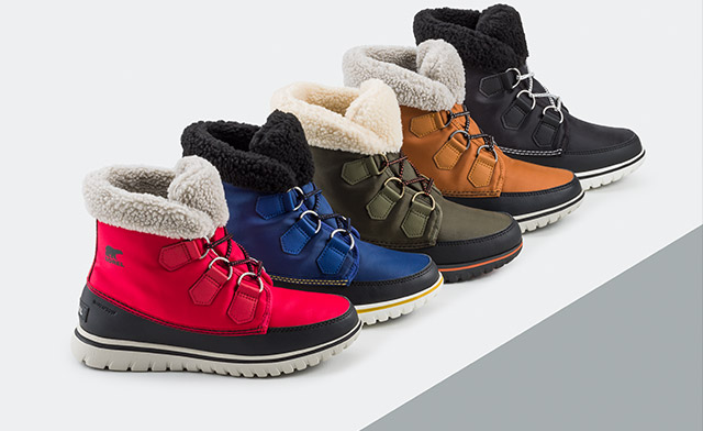 Five colorful boots with shearling lining.