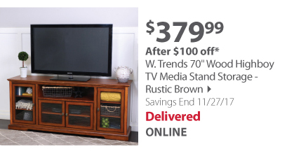 "W. Trends 70"" Wood Highboy TV Media Stand Storage - Rustic Brown"