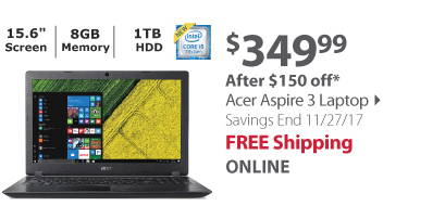 Acer Aspire 3 Laptop, Intel Core i5-7200U Processor, 8GB Memory, 1TB Hard Drive