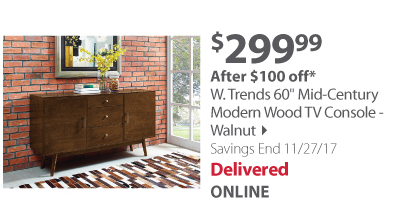 "W. Trends 60"" Mid-Century Modern Wood TV Console - Walnut"
