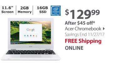 Acer Chromebook, Intel Celeron N2840 Processor, 2GB Memory, 16GB Solid State Drive