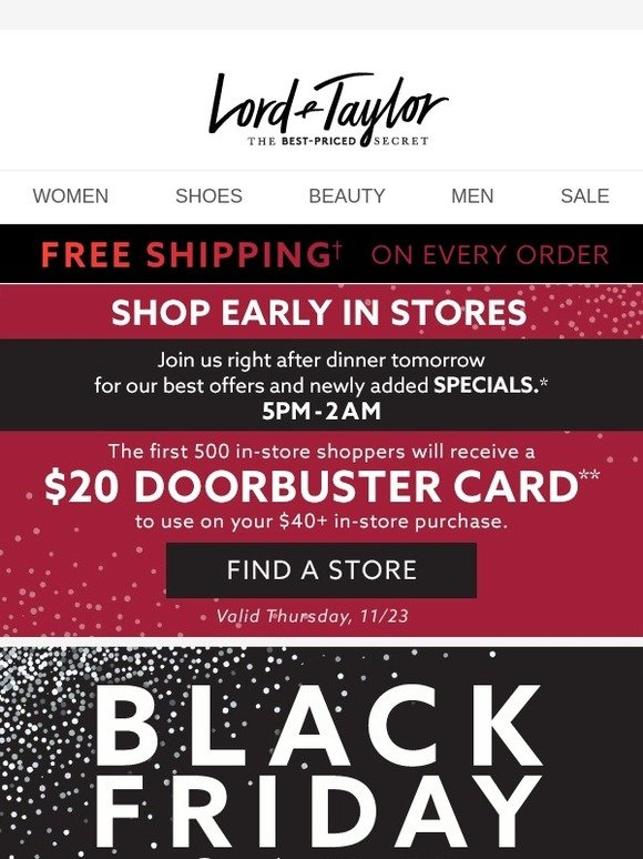 ccfb0851a8bc2 Lord & Taylor: EXTRA 50% OFF! Our Black Friday Sale continues (w/ FREE  shipping)! | Milled