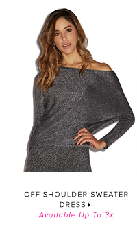 OFF SHOULDER SWEATER DRESS AVAILABLE UP TO 3X