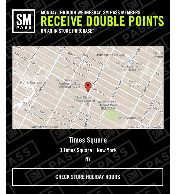 SM PASS members receive DOUBLE POINTS on an in store purchase Monday through Wednesday