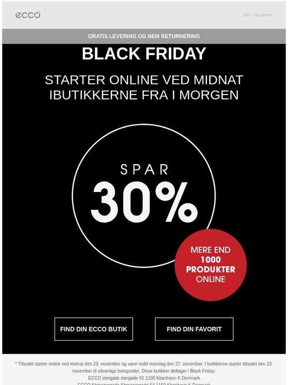82333f14e296 ECCO: Black Friday starter ved midnat! ⏳ | Milled