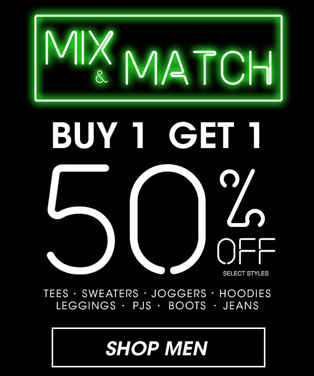 Mix & Match Buy 1, Get 1 50% Off - Shop Men