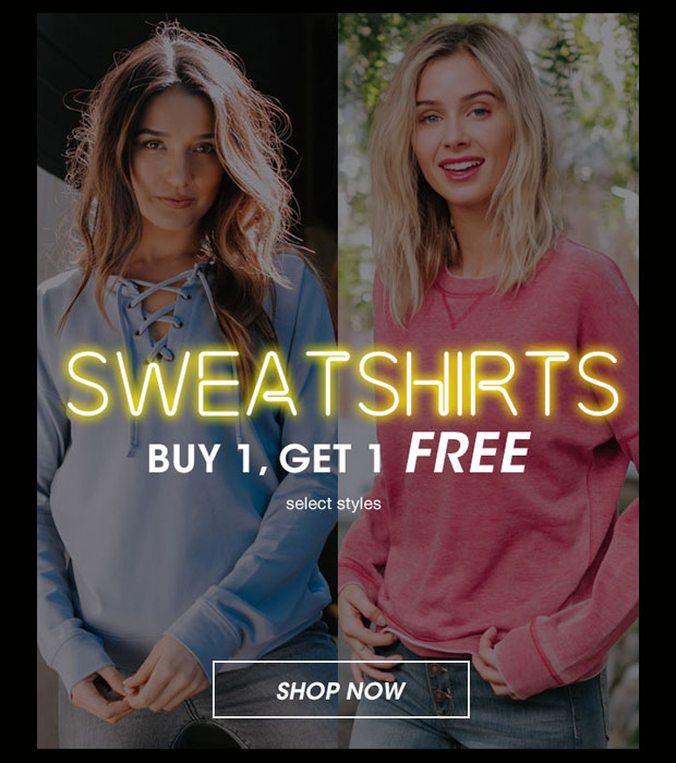 Womens Sweatshirts Buy 1, Get 1 Free - Shop Now