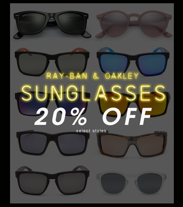 Ray-Ban & Oakley Sunglasses 20% Off Select Styles - Shop Now