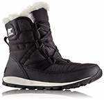 A black winter boot.