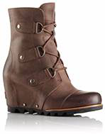 A brown wedge boot.